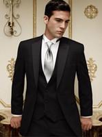 en iyi yeni varış ceketi toptan satış-Yeni Gelenler Iki Düğmeler Siyah Damat Smokin Notch Yaka Best Man Sağdıç Erkekler Düğün Takımları Damat (Ceket + Pantolon + Kravat + Yelek) NO: 888