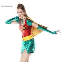 Wholesale Sexy Woman Robin Costume - cosplay costumes com Charmian Halloween Costume for Women Sexy Robin Super Hero Anime Cosplay Carnival Party Fantasias Feminina Para Festa