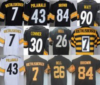 Wholesale New Bell - New Mens 30 James Conner Jersey T. J. Watt 26 LeVeon Bell Jersey 7 Ben Roethlisberger 43 Troy Polamalu Antonio Brown Throwback Rush Jerseys