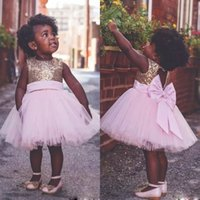 Wholesale top little girl dresses - Knee Length Pink Flower Girls Dresses For Weddings Open Back Big Bow little girls pageant dresses Sequined Top Tulle First Communion Dress