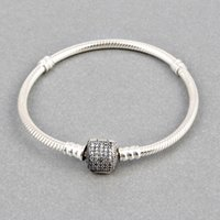 Wholesale Charm Cleaner - Wholesale-ZMZY Pave Full Clean Cubic Zirconia 100% 925 Sterling Silver Clip Clasp Snake Chain Charm Bracelets For Women Jewelry