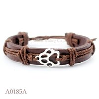 Wholesale Dog Cuffs - (10PCS lot) ANTIQUE SILVER DOG PAW CAT PAW CHARM Adjustable Leather Cuff Bracelet for Men & Women Friendship Casual Jewelry