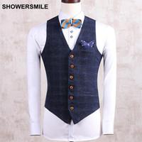 Wholesale Stylish Sleeveless Jackets - Wholesale- Mens Suit Vest Sleeveless Jacket Plaid Gilet Slim Fit Beige Navy Spring Veste Stylish Waistcoat Male Clothing M-4XL