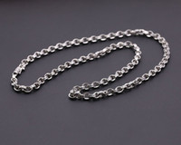 Wholesale Thai Sterling Necklace - 925 sterling silver, Thai silver style, men and women models hanging with chain square ring buckle fashion 4MM necklace