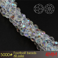 Wholesale Making Bead Curtains - Top quality glass crystal curtains round beads Football Beads 4mm AB Colors A5000 100pcs set jewelry diy making beads