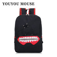Wholesale red mini mouse - Wholesale- YOUYOU MOUSE Fashion Anime Tokyo Ghoul Oxford Backpack High Quality Unisex Cartoon Bag Hot Sale Zip Backpack Double Shoulder Bag