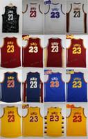 Wholesale Cheap Yellow Shirts - 2017 LeBron James Basketball Jerseys 23 LeBron James Throwback Rookie Retro Yellow Mesh Basketball Shirts James Stitched Jersey Mens Cheap