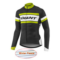 Wholesale Team Cycle Jersey Winter Woman - New Giant Pro Team Men's Winter Thermal Fleece Cycling Jersey Long Sleeve Tour De France bike cycling clothing mtb bicycle shirt A1605