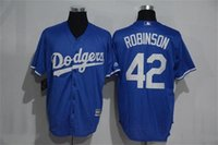 Wholesale 2016 Jackie Robinson Los Angeles Dodgers Blue Cool Base Jersey Men s Stiched Name Number Epacket Fast Shipping Baseball jerseys