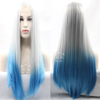 Two Tone Ombre Blue Wig Straight Sintético Lace Frente Perucas Long Gray White Para Blue Silky Straight Hair Sintético Front Lace wigs