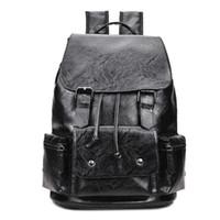 Wholesale Mens Backpack Brown Leather - Large Capacity Camouflage Leather Men Backpack Promotion Solid Black Mens Laptop Backpack Leather Backpack mochila