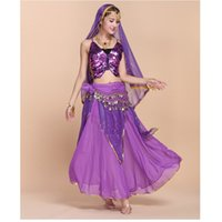Wholesale Wholesale Belly Dancing Bras - Wholesale High-End Sexy Indian Belly Dance Dress 6PCS Butterfly Bra Tops+Highlights Skirt+Veil+Belt Costume Women Exotic Clothing Set