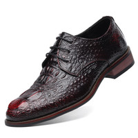 Wholesale British Pumps - Wholesale- British Style Men's Genuine Leather Crocodile Shoes Classic Business Casual Shoes Fashion Handmade Dress Flats Shoes Oxfords 8
