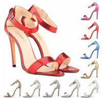 Wholesale Wholesale Lady Stiletto Shoes - 2017 New Arrival Ladies Serpentine Sandals Sexy high-heeled Open Toe Shoes 8cm High PU Leather Sandals Fashion Women Shoes 10 Colors
