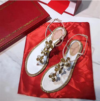 Wholesale Chunky Sandal Flats - 2017 style top quality fashion women rhinestone flats sandals, women super beautiful colour three colour flat sandals free shipping