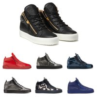 Wholesale Zipper Shoes For Men - Famous Brand Gold Zipper Casual Shoes for Men and Women Kanye West Hight Top Sneakers Genuine Leather Designer Mens Shoes