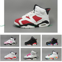 Wholesale White Winter Boots Girls - New Kids VI (6) Retro Basketball Shoes Athletic Black Pink Sports Shoes for Boys Girls Retros Snakers Shoes Free Shipping US11C-3Y