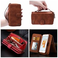 Wholesale Iphone Leather Purse - Free shipping Magnetic Wallet Zip Leather Flip Cover Case Purse Handbag For iPhone 5 5S