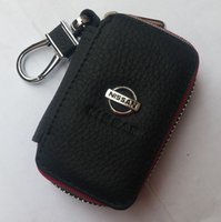 Wholesale Car Case Nissan Tiida - HOT 100% Genuine Leather cowhide Car Key Holder Keychain Ring Black Case Bag for Nissan