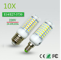 10x24 / 36/48/56/69 LEDs Super LED Mais Birne 5730 SMD E27 / E14 220 V Led-lampe Super Light Kronleuchter LED Spot Birne