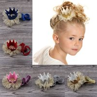 Wholesale Pink Paper Clips - baby hair accessories hair clips Cute Baby Girls Crown Princess Hair Clip Gold Glitter Lace Pearl Headband Tiara