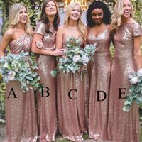 Wholesale One Sleeve Prom Dresses Sparkly - Bling Bling Sparkly Bridesmaid Dresses 2017 Rose Gold Sequins New Cheap Mermaid Two Pieces Prom Gowns Backless Country Beach Party Dresses