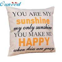 Wholesale Zero quot You are my Sunshine quot Cotton Linen Leaning Cushion Throw Pillow Covers Pillowslip Case