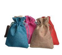 Wholesale Packaging Bags For Candy - Wholesale! Small Burlap Drawstring Bags for Candy Wedding Gift Christmas Gift Jewelry Package 9x12cm