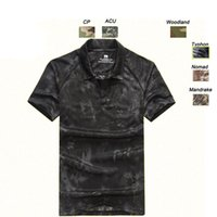 Wholesale Bdu Woodland Shirt - Outdoor Woodland Hunting Shooting Shirt Battle Dress Uniform Tactical BDU Army Combat Clothing Quick Dry Camouflage T-Shirt SO05-105