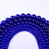 Wholesale Natural Blue Chalcedony Bracelet - 4,6,8,10,12 AAAA+ wholesale round dark blue natural Jasper Bead chalcedony loose stone beads For Bracelet DIY Jewelry Making
