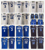 Duke Blue Devils 3 Grayson Allen Jersey 5 Tyus Jones Negro Blanco 12 Justise Winslow College Jerseys de baloncesto Uniforme