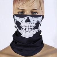 Wholesale Skeleton Mask Skiing - Wholesale-Halloween Skull Skeleton Party Masks Black Motorcycle Multi Function Headwear Hat Scarf Neck Scary Sport Face Winter Ski Mask
