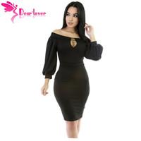 Wholesale Vestido Casual Inverno - long sleeve dress women winter Black Puffs Peep Hole Off Shoulder Midi Bodycon Dress vestido inverno mulheres LC61333 17410
