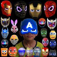 Wholesale Spiderman Masks For Kids Party - Halloween Christmas LED Glowing superhero mask for kid & adult Avengers Marvel spiderman ironman captain america hulk batman party mask