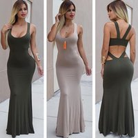 Wholesale Tank Dresses For Women - high waist sleeveless hollow out summer casual ankle length maxi long pleated tanks dresses for women