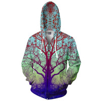 Wholesale Hoodie Coat Outfit - Wholesale-Trip Tree Zip-Up Hoodie Trippy 3d Print Fashion Clothing Women Men Tops Hooded Casual Zipper Sweatshirts Outfits Coats Sweats