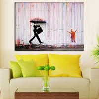 ingrosso telai di pittura ad olio brillante-Wall Art Colore brillante Pittura a olio moderna No Frame Banksy Art Colorful Rain Wall Tela Dipinti astratti Decorazione della casa