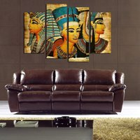 Wholesale Oil Painting Framed Set - 4pcs set Egyptian Pharaoh (No Frame) Wall Art Oil Painting On Canvas Paintings Figure Abstract Picture Decor Living Room