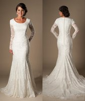 Wholesale Size 16 Informal Wedding Dress - Modest 2017 Mermaid Lace Wedding Dresses With Long Sleeves Jewel Neck Covered Button Back Long Church Bridal Party Gowns Informal Simple