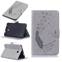 Wholesale Leather Wallets China - For Samsung Galaxy Tab A 7.0 T280 T285 Tablet Leather Case Filp Cover Wallet Stand With Card Slot Embossed Feather bird Desgin