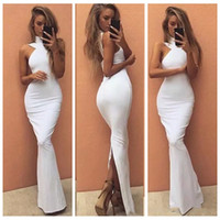 Wholesale Modern Vogue Mermaid Trumpet - Vogue High Neck Mermaid Prom Dress Slim Backless Sleeveless Slit Back Vestidos De Evening Floor Length Party Gowns
