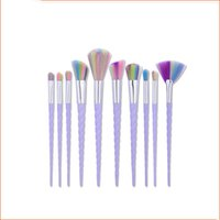 Wholesale Synthetic Cosmetic Brush Sets - Unicorn Makeup Brushes 10PCS Makeup Brushes Tech Professional Beauty Cosmetics Brushes Sets Free Shipping B006