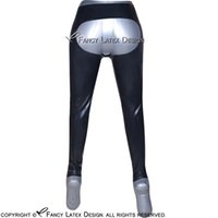 Wholesale Long Spanking - Black Sexy Spanking Latex Leggings Fetish Bondage Rubber Pants Jeans Trousers Bottoms Long 2017 Hot Sales