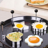 Wholesale Stainless Steel Egg Ring - Stainless steel frying device 5 kinds of specifications optional Fried egg model DIY omelette tool free shipping