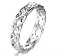 nişan halkası ebadı 6.5 toptan satış-925 Ayar Gümüş Celtic Knot Eternity Band Yüzük Nişan Düğün Band 4mm Boyutu 4 - 11