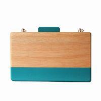Wholesale Wooden Boxes Compartment - Wholesale-2016 Women wood evening bag Wooden cute box blue striped wooden wallet Euramerican Clutch Spring Summer wooden Cute shoulder bag