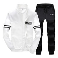 Wholesale High Quality Men s Sports Suit Pattern Printed Coat Pants Pieces Colors Baseball Jackets Sport Tracksuit Running Set Homme