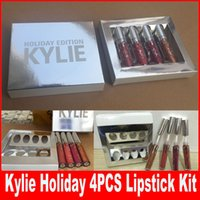Wholesale Family Christmas Holiday - 4pcs set New Kylie Jenner holiday collection lip kit The Family Collaboration kollaborald Metal Matte lipstick KHLOE Christmas gift