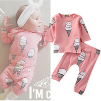 Wholesale ice cream clothes resale online - Newborn Baby Girls Clothes Infant Kids clothing Set Ice Cream Long SleeveT Shirt Tops Long Pants Outfit Clothing Set Baby Girls M