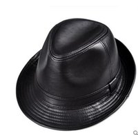 Wholesale Lambs Skin Leather - High Quality Lamb Skin Fedoras Hats Gentlemen's Genuine Leather Winter Spring Caps Formal Jazz Hat Black Free Shipping